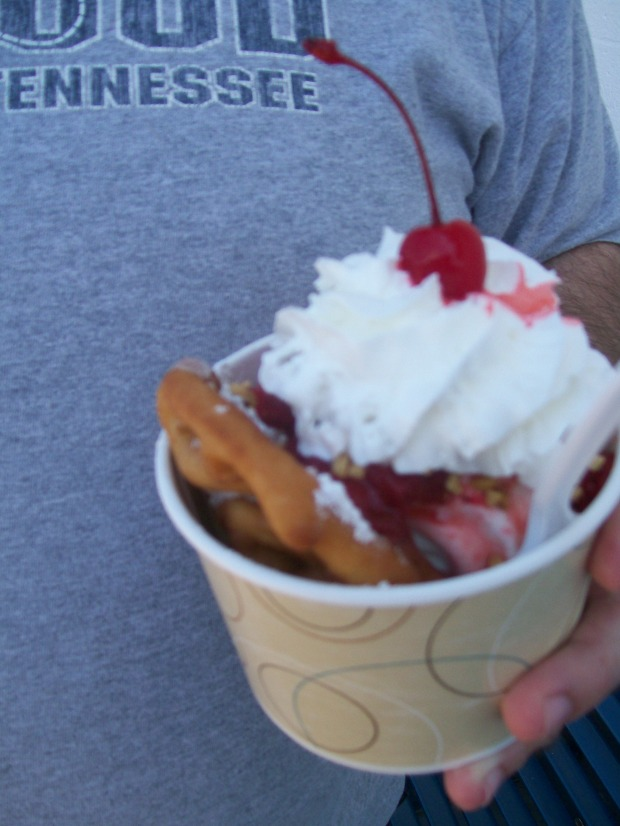 Funnel Cake Sundae with Strawberries from Kline's Freeze