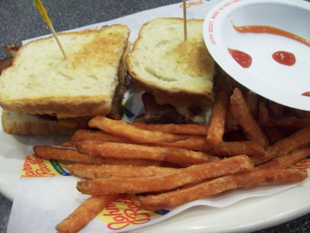 Johnny Rockets BBQ Chicken Bacon Melt- isn't the Ketchup smile weird?