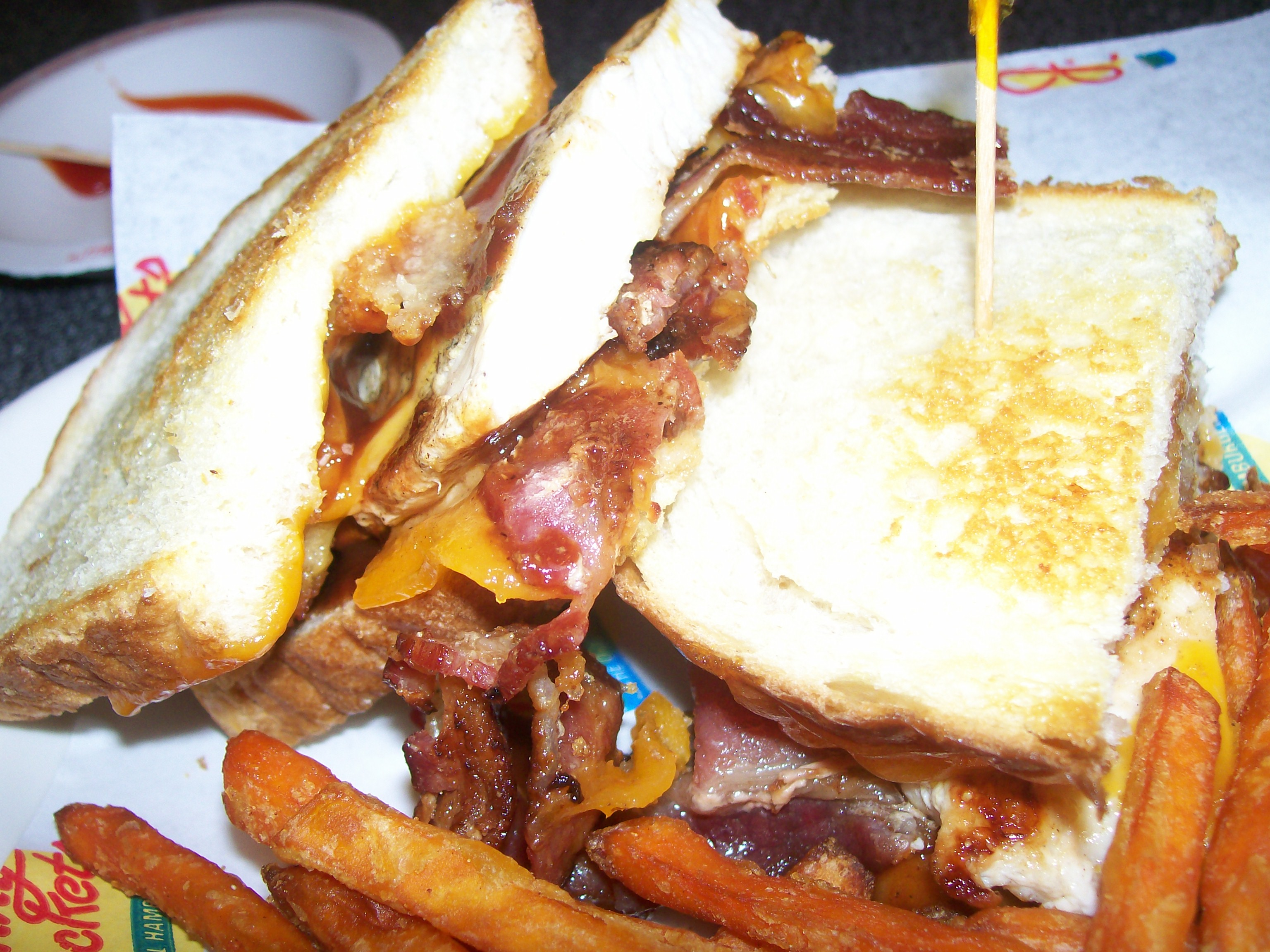 Johnny Rockets BBQ Chicken Bacon Melt and Sweet Potato Fries