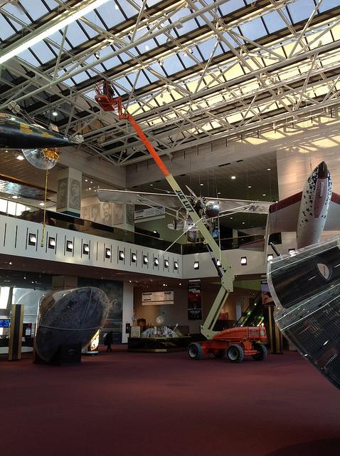 The scale of this museum is so grand that this is how to cool it looks when they change a light bulb- photo courtesy of Smithsonian National Museum of Air and Space