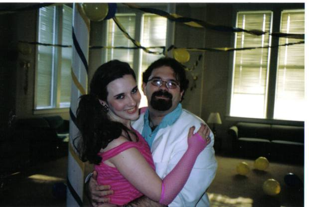 Here's a photo of us at an 80's party in college. I was so lucky to be the first girl that got asked to dance. RJ loves to dance as much or sometimes more than I do!