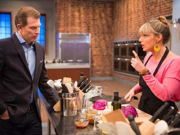 "Bobby Flay and Damaris chat in ""A Star is Chopped"""