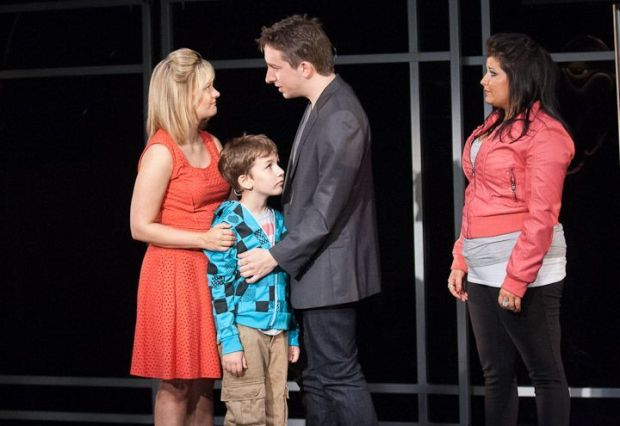 "Alison (Erin Driscoll, left) and Evan (James Gardiner) take some first steps toward trusting each  other as Evan's grandson Jesse (Holden Browne) and daughter Makalo (Carolyn Cole) take  some first steps toward trusting him. ""Spin"" plays at Virginia's Signature Theatre through July 27, 2013.  Photo: Teresa Wood."