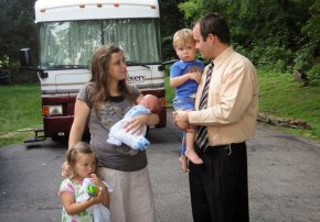 Josh and Anna Duggar with their children after tearful goodbye to the family.